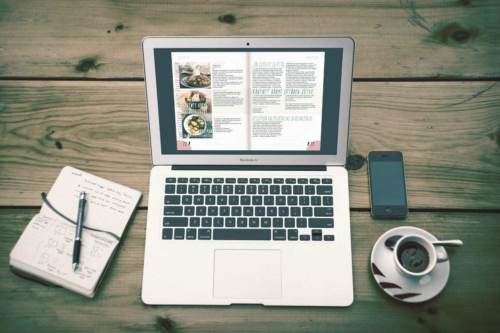 online vegán magazin egy laptop képernyőjén