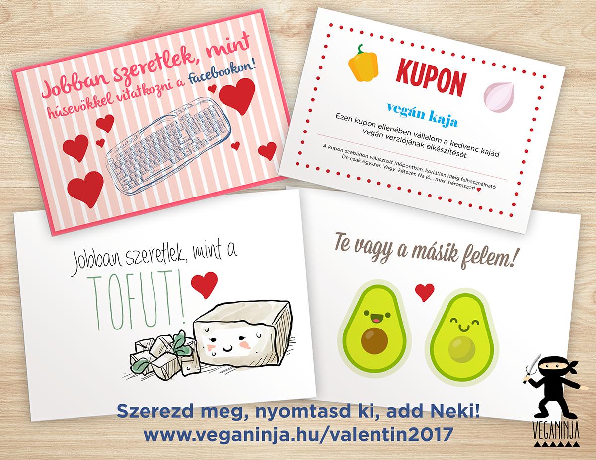 Valentin napi vegán képeslapok ingyen letölthető